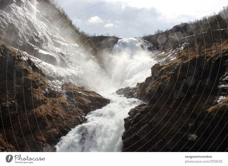 Kjosfossen Umwelt Natur Landschaft Urelemente Wasser Wolken Sträucher Moos Felsen Berge u. Gebirge Wasserfall Ferien & Urlaub & Reisen außergewöhnlich
