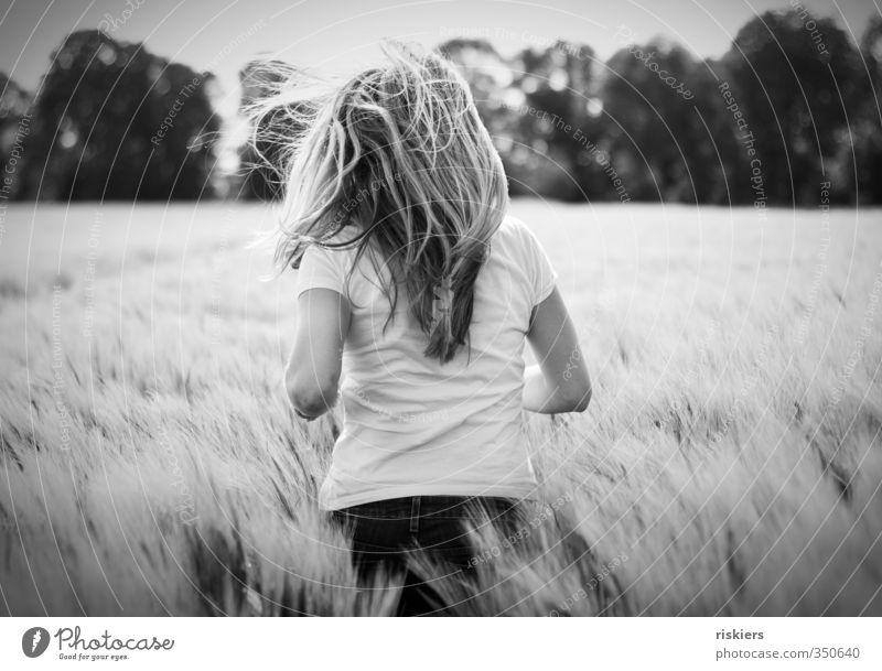 run Mensch Frau Natur Jugendliche Freude Landschaft Junge Frau Erwachsene Umwelt Leben feminin 18-30 Jahre Frühling Freiheit natürlich Feld