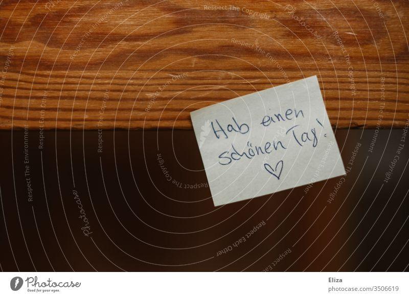 Ein Post-It auf das eine liebevolle Botschaft Nachricht Notiz für geschrieben ist; Beziehungsleben post-it Partnerschaft Kommunikation Zettel Brief Herz Liebe