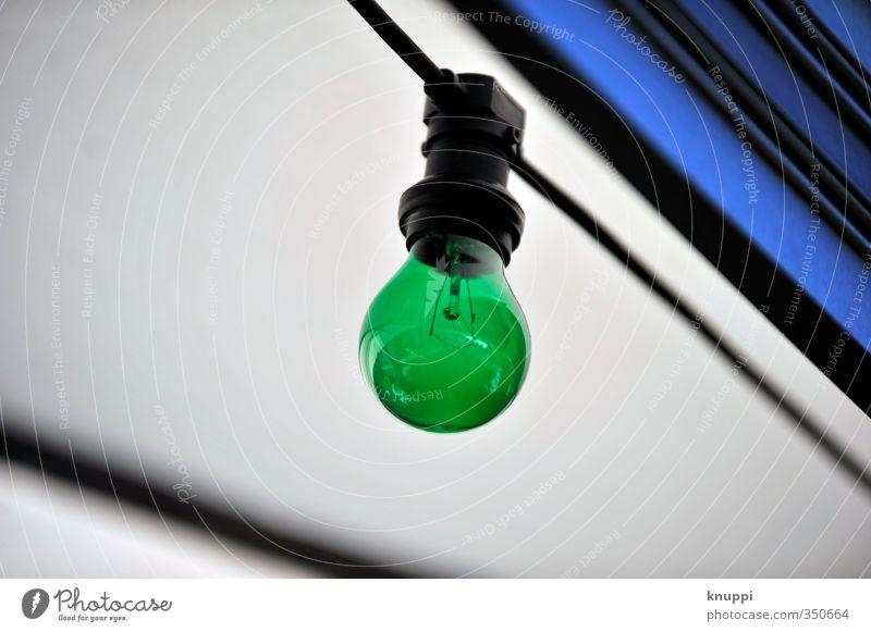 total blau - jetzt seh ich schon grüne Glühbirnen Kabel Technik & Technologie Fortschritt Zukunft Energiewirtschaft Erneuerbare Energie rund grau schwarz weiß