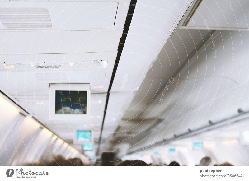 Flugzeugkabine Luftverkehr Kabine Himmel fliegen Ferien & Urlaub & Reisen Farbfoto Reisefotografie Tourismus blau weiß Innenaufnahme flugverkehr im Flugzeug