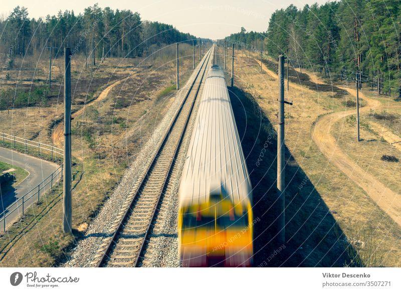 Elektrischer Zug fährt durch den Wald Hintergrund Baum retro altehrwürdig Sommer Natur grün Schiene Eisenbahn Bahn Verkehr Transport reisen im Freien elektrisch