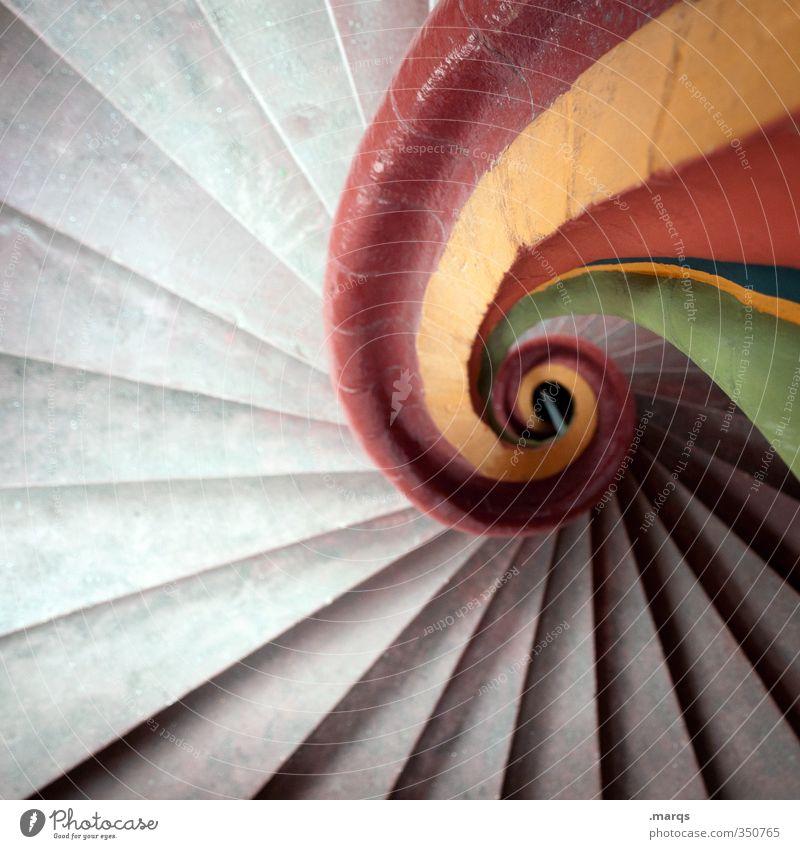 pe Innenarchitektur Treppe Treppenhaus retro rund schön gelb grau grün rot Perspektive Wendeltreppe Spirale ästhetisch Farbfoto Innenaufnahme Menschenleer