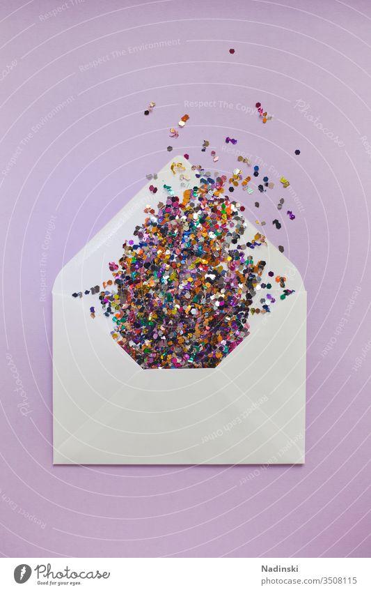 Ich schreib dir mal n Brief Briefumschlag Post Einladung Briefgeheimnis schreiben Schreibwaren Zusteller zustellen Sehnsucht Glitter Konfetti Party Hochzeit