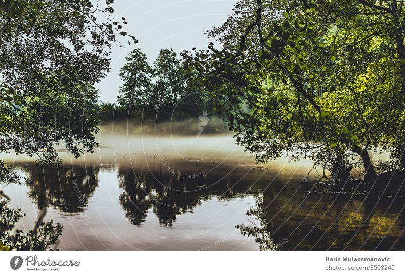 Morgendlicher Rauch auf dem Wasser landschaftlich reizvoller See mit Bäumen Herbst Hintergrund schön Schönheit blau gruselig Umwelt fallen Wald grün Landschaft