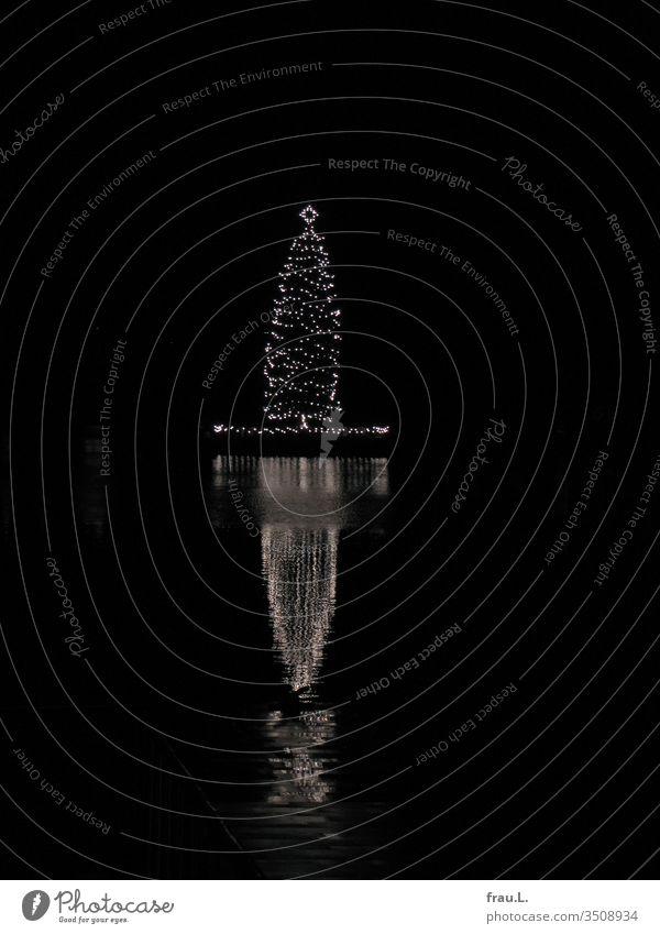 Zur frühen Einstimmung auf die kommende Adventszeit hier schon mal ein schwimmender Weihnachtsbaum. Weihnachten Weihnachten & Advent Baumschmuck Winter Alster