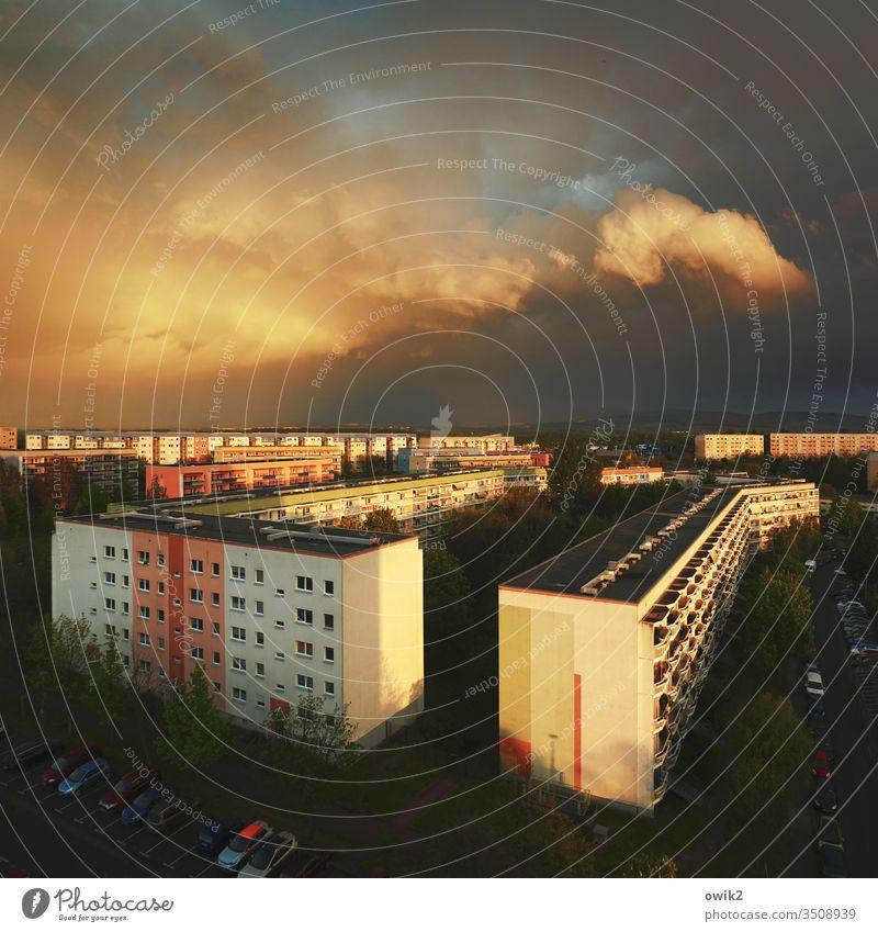 Kastengesellschaft Wohnblöcke Plattenbau DDR Architektur Haus Gebäude Fassade Balkon Hochhaus trist Beton Stadt Neubau Häusliches Leben Menschenleer