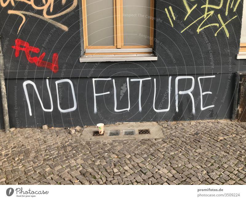 "Graffiti an einer Hauswand: Punk-Zitat: ""No Future"". Gesehen in Berlin. Foto: Alexander Hauk hauswand no future zukunft keine zukunft kunst art berlin"