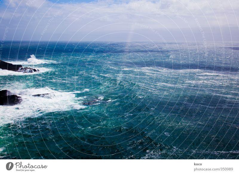 Über das Leben und über das Meer. Himmel Natur blau grün Wasser weiß Sommer Sonne Wolken schwarz Ferne Küste Stein natürlich Wetter