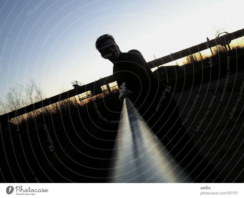 Sonnenuntergang Mann Einsamkeit Industriefotografie