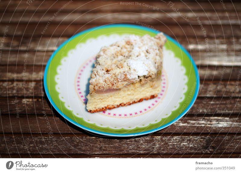 Rhababerkuchen blau grün gelb Essen braun Lebensmittel Zufriedenheit Fröhlichkeit Dekoration & Verzierung ästhetisch Ernährung süß genießen Appetit & Hunger