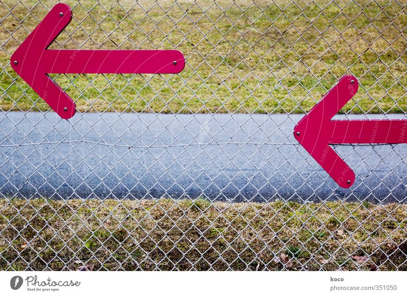 <–– <–– Hier gehts lang! Gras Zaun Verkehrswege Wege & Pfade Verkehrszeichen Verkehrsschild Wegweiser Beton Metall Zeichen Linie Pfeil Netz Netzwerk blau braun