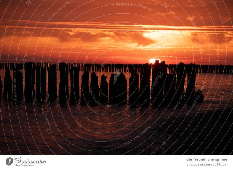 Sonnenaufgang an der Ostsee I Meer Wellenbrecher Himmel Dramatik Wasser Außenaufnahme Wolken Farbfoto Horizont Sonnenuntergang Dämmerung Strand Sommer Küste