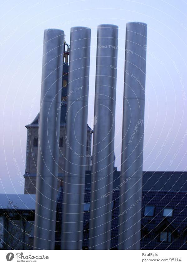 Church and Pipes alt Religion & Glaube Architektur modern Köln Röhren Schornstein überlagert