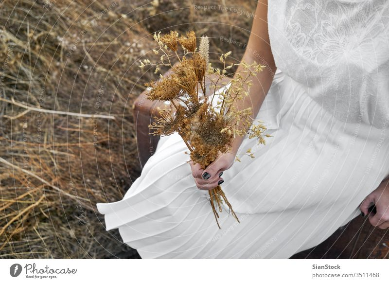 Frau mit weißem Kleid hält Blumenstrauß mit Trockenblumen Sonne Winter braun im Freien Menschen Glück Porträt reisen Lifestyle trocknen Beteiligung Hände Dame