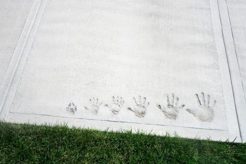 Familienmoment in Beton eingefangen mit Handabdrücken auf dem Zement-Bürgersteig von klein bis groß und mit dem Pfotenabdruck eines Familienhundes lustig Spaß