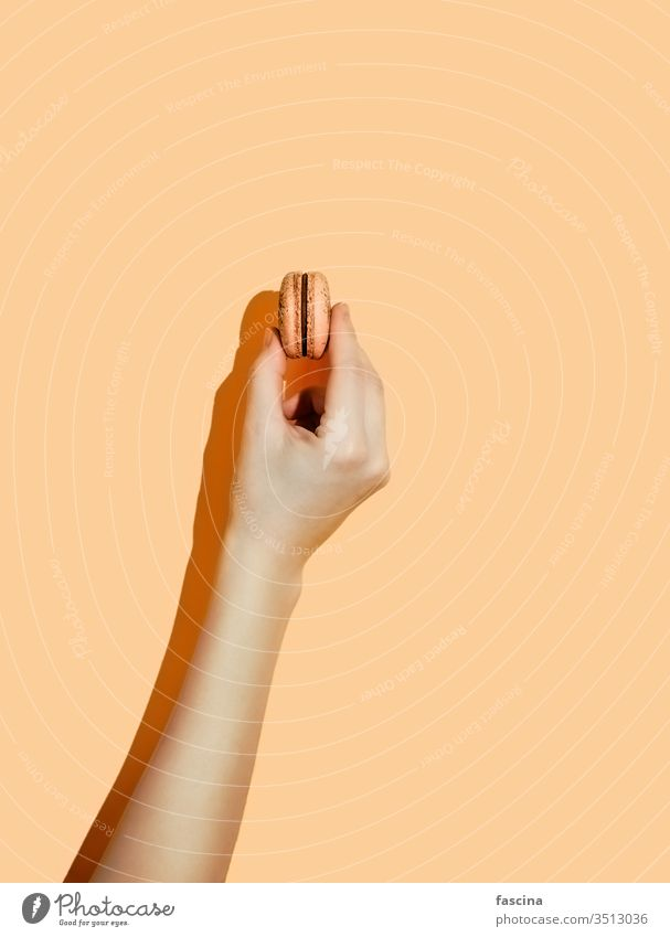 emale Hand mit Makkaron auf gelbem Hintergrund Macaron Handgriff-Makaron Halt Makrone Beteiligung Pastell hartes Licht gelber Hintergrund