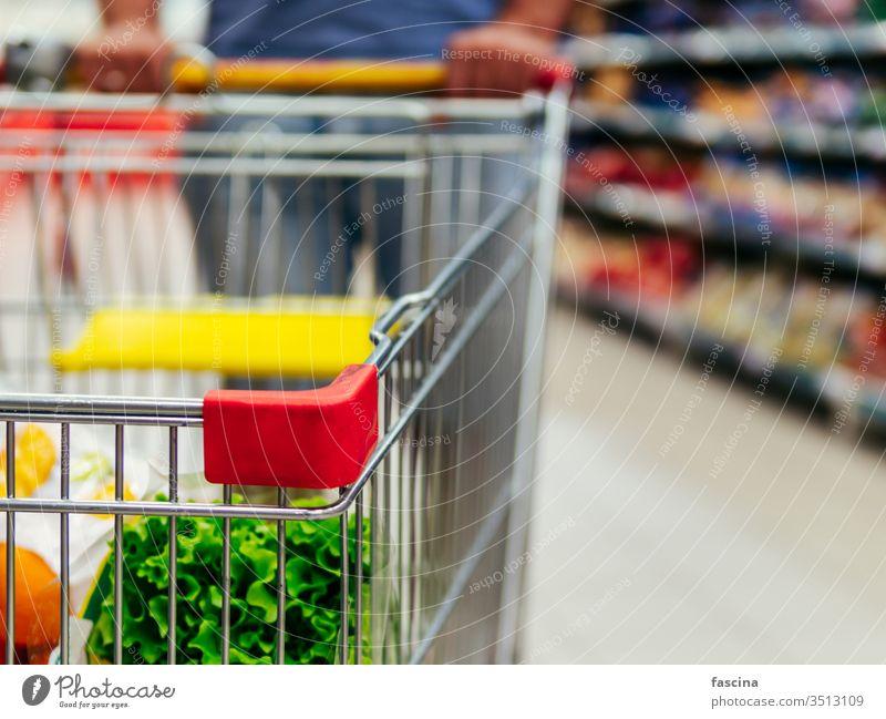 Einkaufswagen im Gang des Supermarkts, Kopierraum Handwagen Lebensmittelgeschäft Werkstatt Karre Mann Hände Latein Kaukasier Halt Laden Markt Einzelhandel Regal