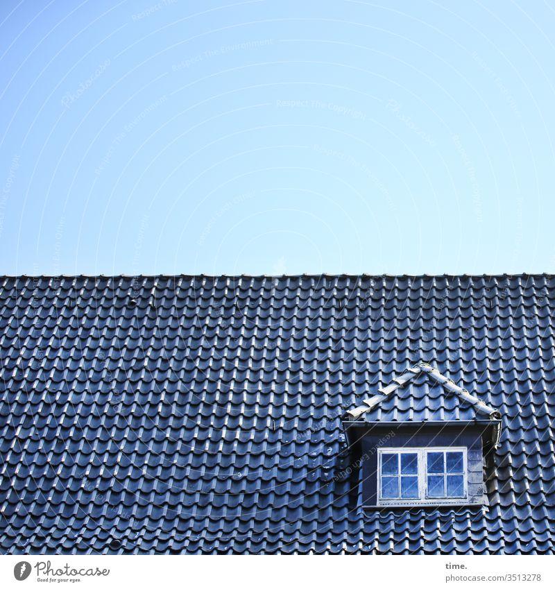 blauäugig draußen dach gebäude inspiration reflexion himmel sonnenlicht geheimnisvoll fenster gaube dachpfannen dachziegel erker historisch dachfirst