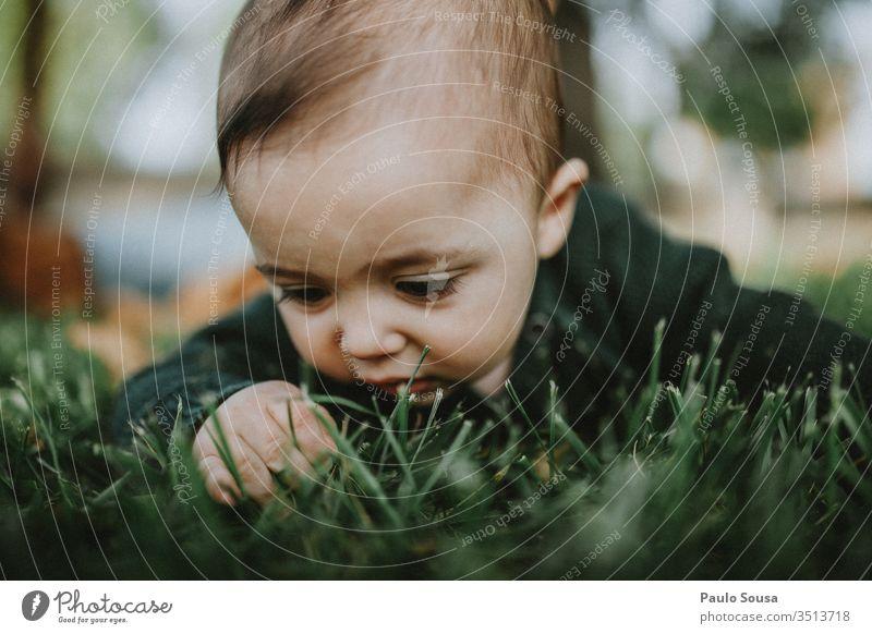 Nahaufnahme eines Babys, das Gras berührt Natur grün wild niedlich Porträt Säuglingsalter Lifestyle 0-12 Monate Kindheit Mensch Farbfoto schön Fröhlichkeit