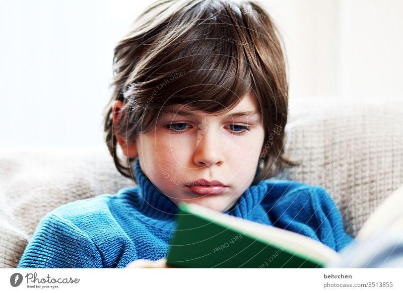 welttag des buches! vertieft konzentriert Konzentration lesen Literatur intensiv ernst verträumt kindlich Familie Buch nachdenklich träumen Tagträumer Farbfoto