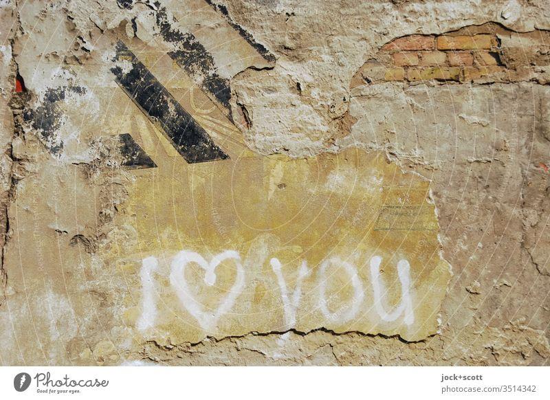 Ich liebe dich auf die englische Art Mauer Englisch Zahn der Zeit Schmiererei Straßenkunst Subkultur Gefühle Verliebtheit Kreativität verwittert Spray