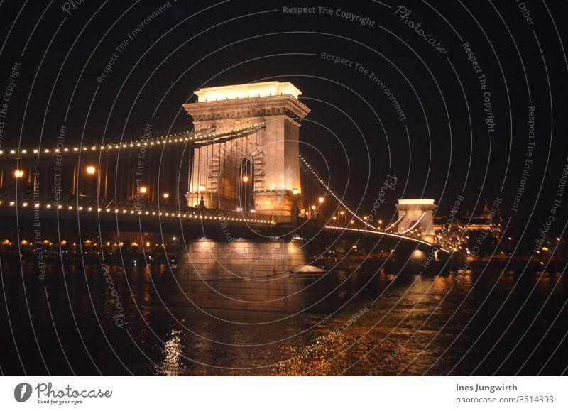 abendliche Beleuchtung der Kettenbrücke in Budapest Brücke Nacht Nachtaufnahme Licht Ungarn Tourismus Architektur historisch Farbfoto Sehenswürdigkeit