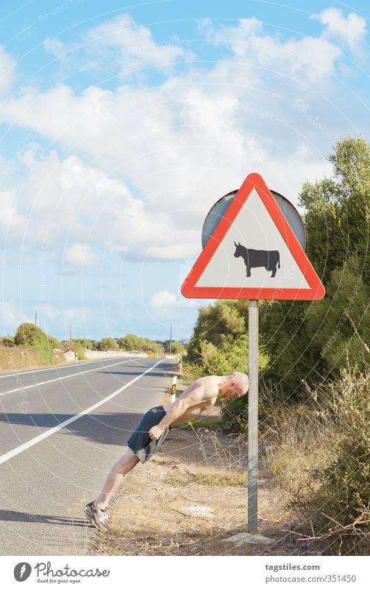 YOU WONNA RAM WIT´ME?! Verkehrszeichen Mann kämpfen Kampfsport Stierkampf Verkehrsschild Zeichen Balearen Schilder & Markierungen Bulle Toro Spanien Spanisch
