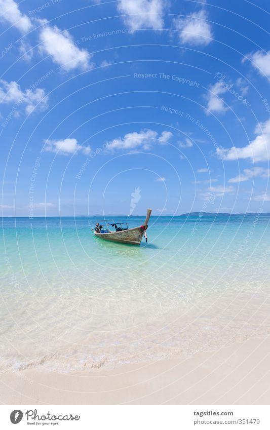 FREI SEIN Thailand Krabi Phra Nang Beach Railay West Railay West Beach Wasserfahrzeug Strand Sand Meer Langboot Postkarte Erholung Ferien & Urlaub & Reisen