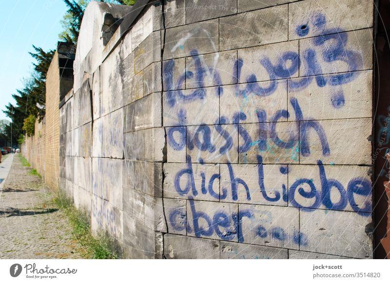 Ich weiß dass ich dich liebe, aber ... an dieser Friedhofsmauer Deutsch Schriftzeichen Wort Straßenkunst Schmiererei Bürgersteig Handschrift Text Spray
