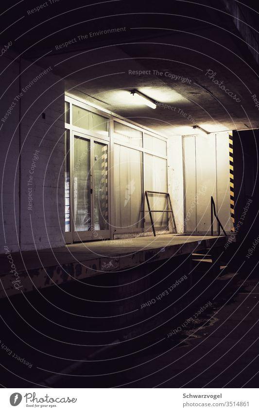 Laderampe bei Nacht im Neonlicht Eingang Tür Beleuchtung Gewerbe Gewerbebau Gebäude Fabrik Industrie Bauwerk Stillstand