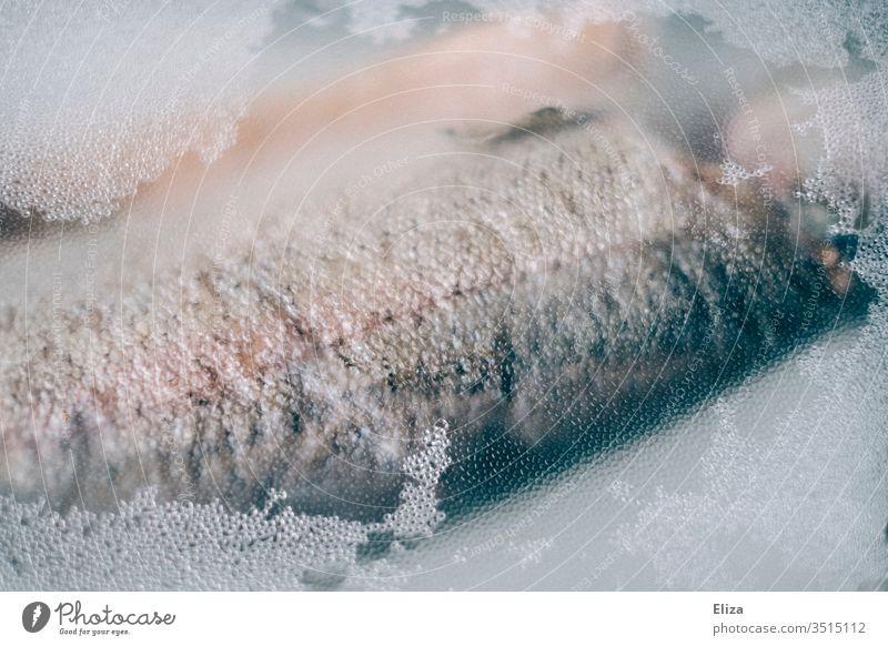Frischer Fisch hinter Klarsichtfolie verpackt frisch Folie Plastik Detail lecker silber glänzend kalt Ernährung Tier roh Gesunde Ernährung Lebensmittel