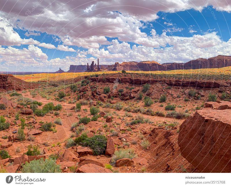 Monument Valley an der Grenze zwischen Arizona und Utah, USA Denkmal Tal Inder amerika Amerikaner Spitzkuppe Schlucht Klippe Colorado wüst berühmt Formation