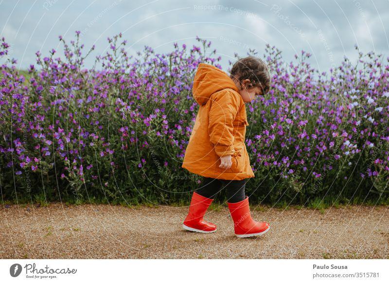 Kind läuft auf Blumenfeld Frühling Spr Blüte Pflanze Natur Farbfoto Außenaufnahme Frühlingsblume Frühlingsblumen Blütenpflanze Kindheit Lifestyle wandern grün