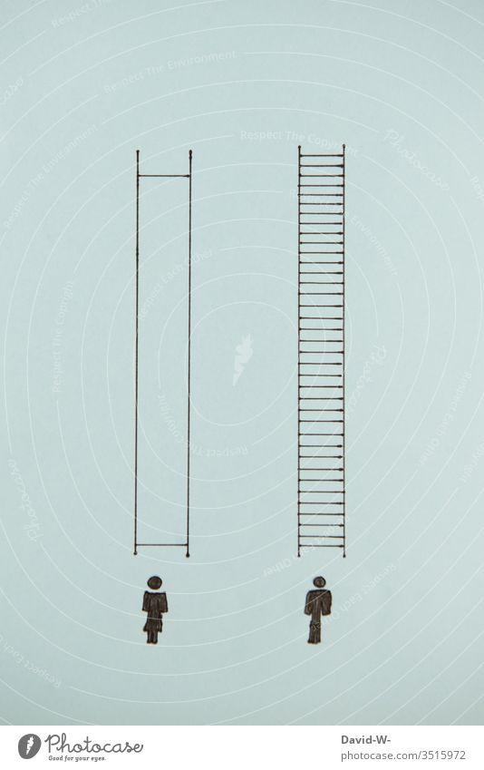 Männer und Frauen - Diskriminierung & Ungerechtigkeit Mann Vergleich unausgewogen diskriminierung job Nachteile Darstellung konzept kontext vergleichen