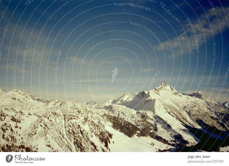 Alpenpanorama Himmel Baum Wolken Schnee Berge u. Gebirge Tal
