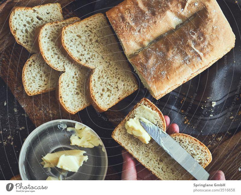 Weißbrot mit Butter Brot grillen Abendessen brotzeit selbstgebacken food Foodfotografie frisch Weizen Mehl
