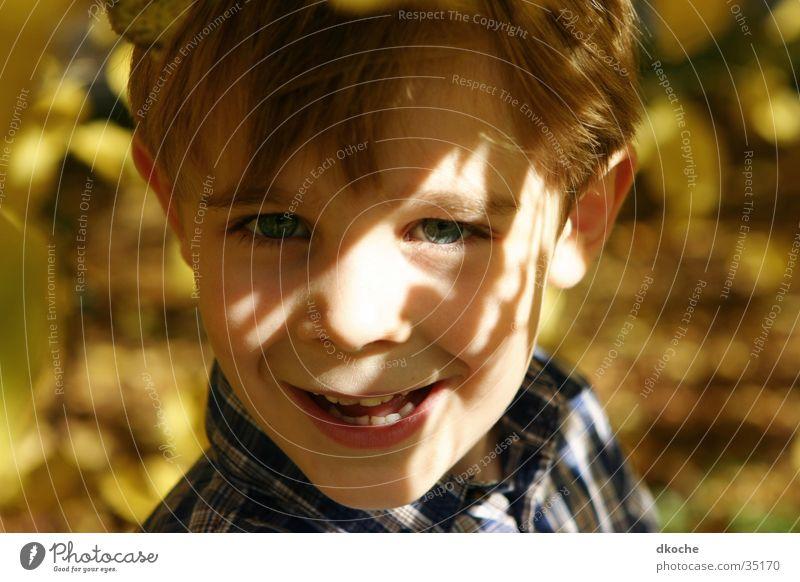 Herbstschlingel Kind 5 Blatt Stimmung Junge lachen