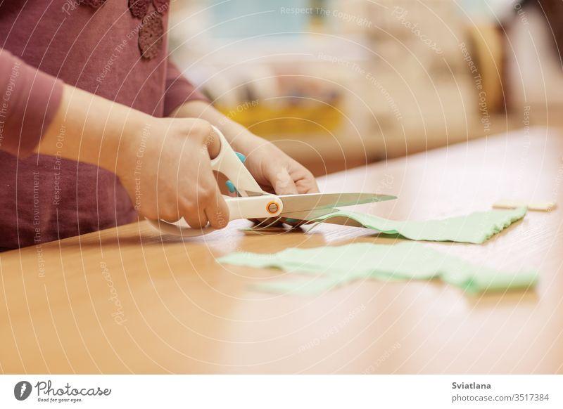 Schneiderin am Arbeitsplatz. Schneiderin schneidet Stoffe für das Nähen von Kleidern. Seitenansicht Nadelbett Helfer Ring Faser Stickereien Kreide Schneiden