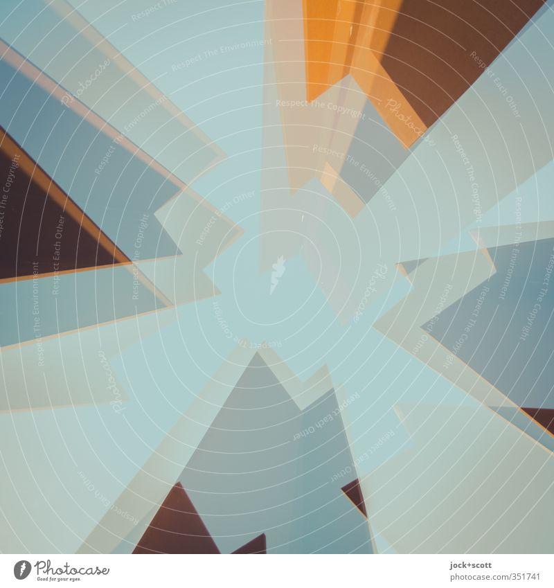 regelmäßiges Viereck im Quadrat Turm Stahl Rost Ecke eckig Doppelbelichtung Schemata stilistisch Rahmen Reaktionen u. Effekte Illusion abstrakt