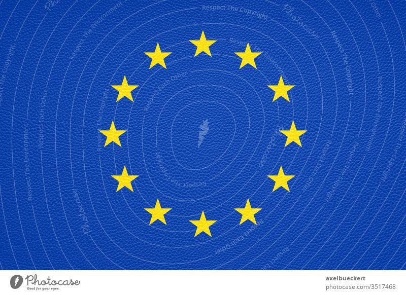 Europa Flagge mit Lederstruktur - Europäische Union oder EU Fahne Textur Hintergrund gedruckt Europäer Design Mode Politik Textfreiraum Symbol Emblem blau gelb