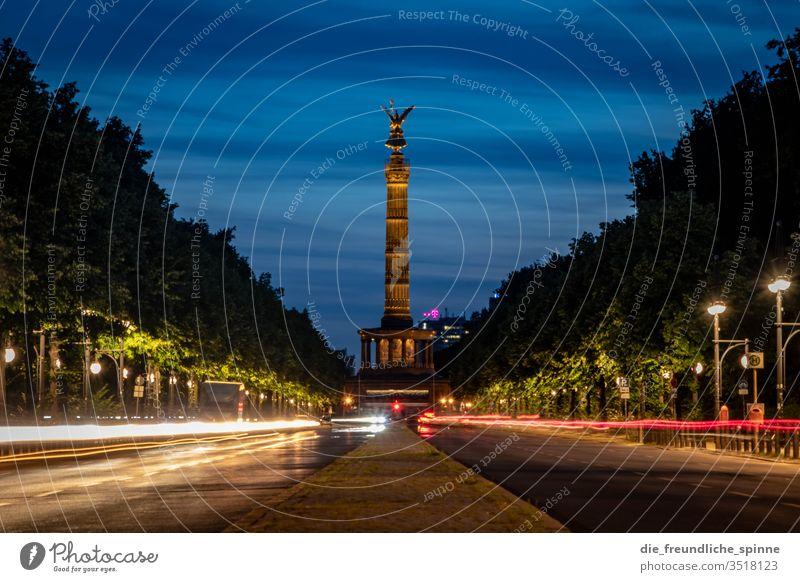 Siegessäule am Abend Berlin Großer Stern Sehenswürdigkeit Hauptstadt Denkmal Goldelse großer stern viktoria Tiergarten Deutschland Figur Aussicht Wahrzeichen