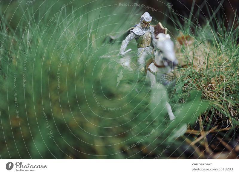Ritterlein ohne Furcht und Tadel sucht Abenteuer im Garten Reiter reiten Pferd Rüstung Modell Figur grün Gras Miniatur Reise Natur