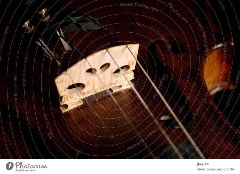 Geige Detail 2 Musik Konzert Orchester Musikinstrument elegant braun schwarz Klassik Studioaufnahme Detailaufnahme Makroaufnahme Menschenleer Schatten Low Key