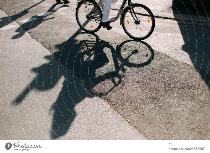 fahrradfahren in der stadt Fahrrad Schatten Straße Verkehrswege Verkehrsmittel Fahrradfahren Straßenverkehr Wege & Pfade Mobilität Verkehrssicherheit Stadt
