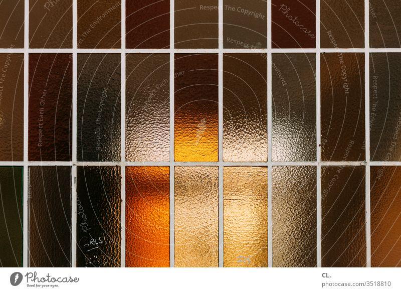 fenster Fenster Fensterscheibe Milchglas Ordnung Glas Strukturen & Formen abstrakt Muster Linie ästhetisch Design gelb orange Architektur Tag Farbe Textur