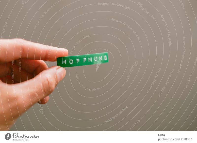 Eine Person hält ein grünes Schild auf dem Hoffnung geschrieben steht in der Hand Klima hoffen Naturschutz halten Wort Text Buchstaben Schrift Etikett
