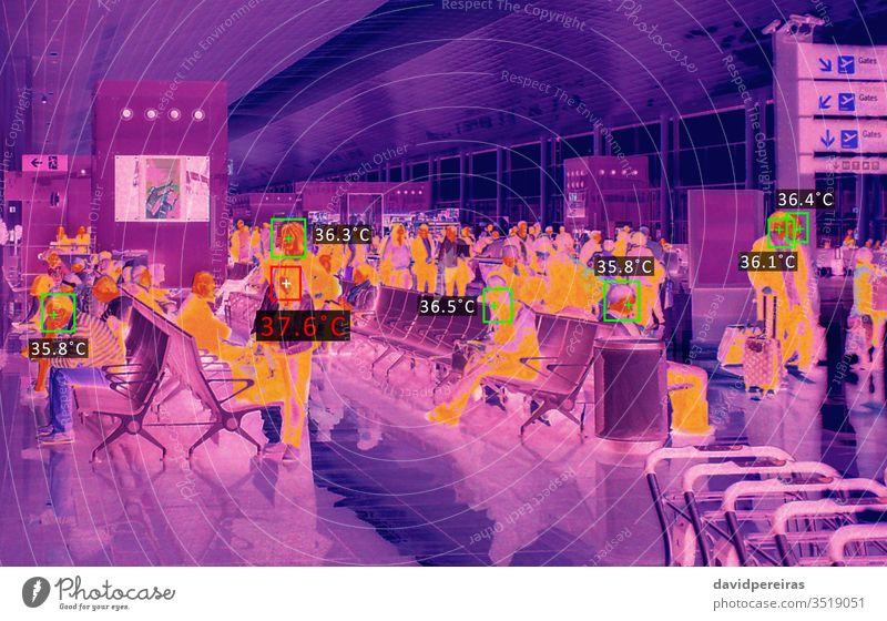 Thermische Scanner-Prüftemperatur thermisch Infrarotaufnahme Temperatur Fieber Coronavirus prüfen covid-19 Abtastung Flughafen Infektion Virus Diagnostik Grippe