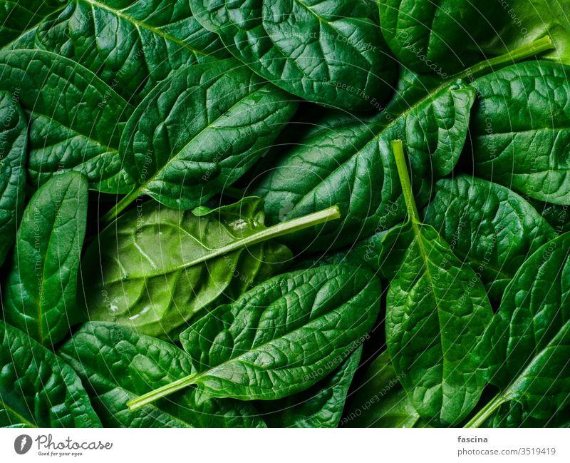 Muster von Babyspinat Spinat Rahmen flache Verlegung frisch grün Blätter Top Ansicht legen Hintergrund Gesundheit Blatt Pflanze Gemüse Lebensmittel Diät Frische