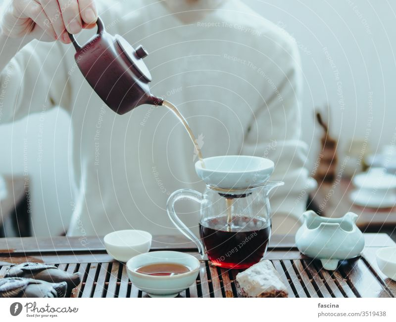 Chinesische Puerh-Tee-Zeremonie Festakt pu erh pu erh Tee puerh trinken China Kultur Asien Gesundheit traditionell asiatisch braun Osten heiß Teekanne Tradition